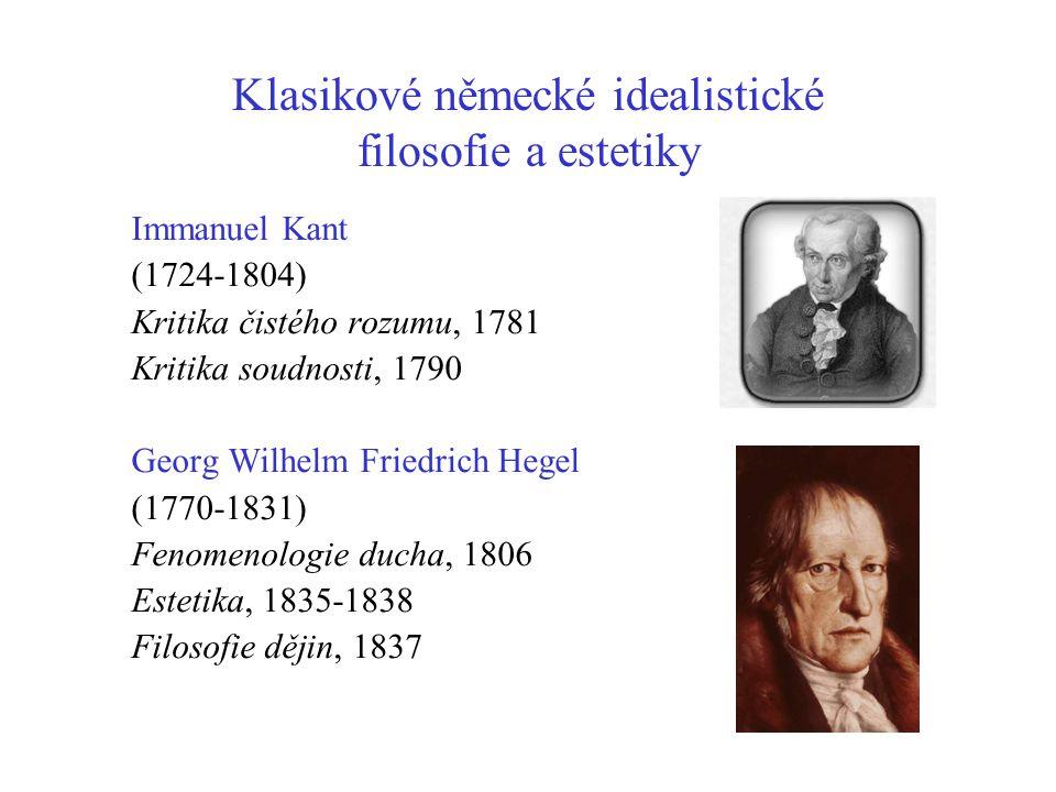 Klasikové německé idealistické filosofie a estetiky Immanuel Kant (1724-1804) Kritika čistého rozumu, 1781 Kritika soudnosti, 1790 Georg Wilhelm Fried