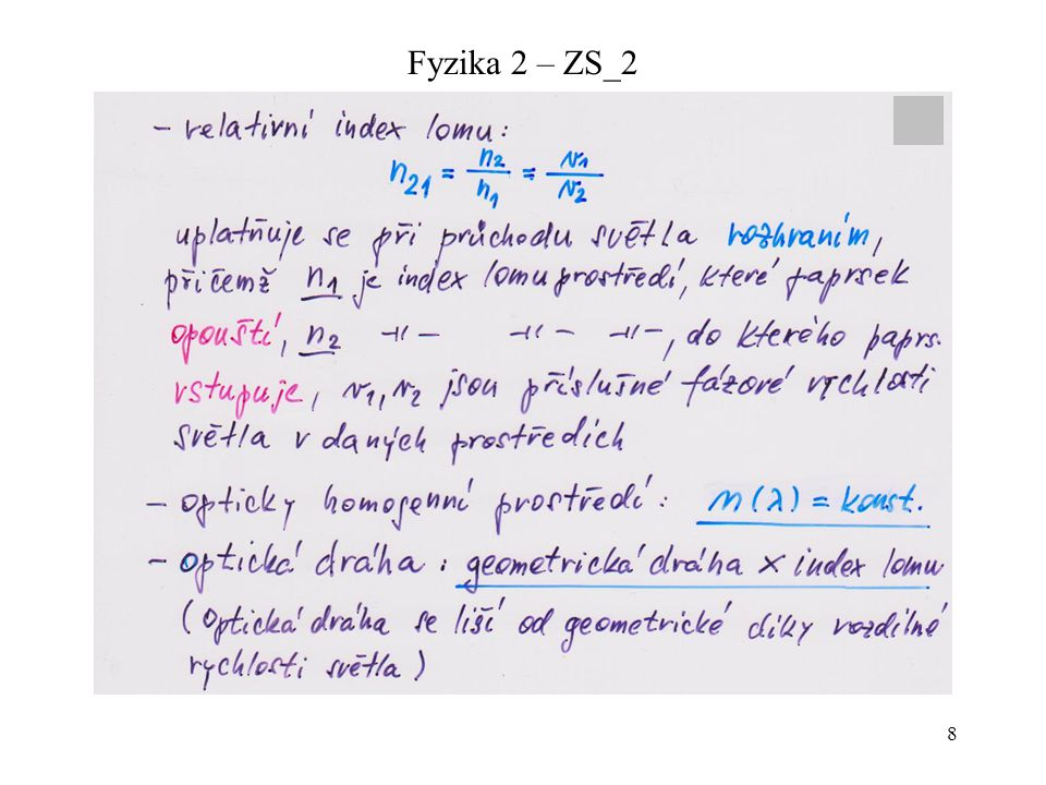 19 Fyzika 2 – ZS_2 Zobrazovací konvence a základní pojmy zobrazování