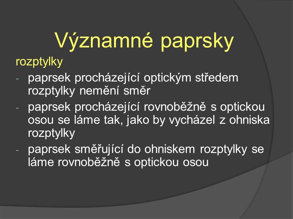 Významné paprsky rozptylky - paprsek procházející optickým středem rozptylky nemění směr - paprsek procházející rovnoběžně s optickou osou se láme tak, jako by vycházel z ohniska rozptylky - paprsek směřující do ohniskem rozptylky se láme rovnoběžně s optickou osou