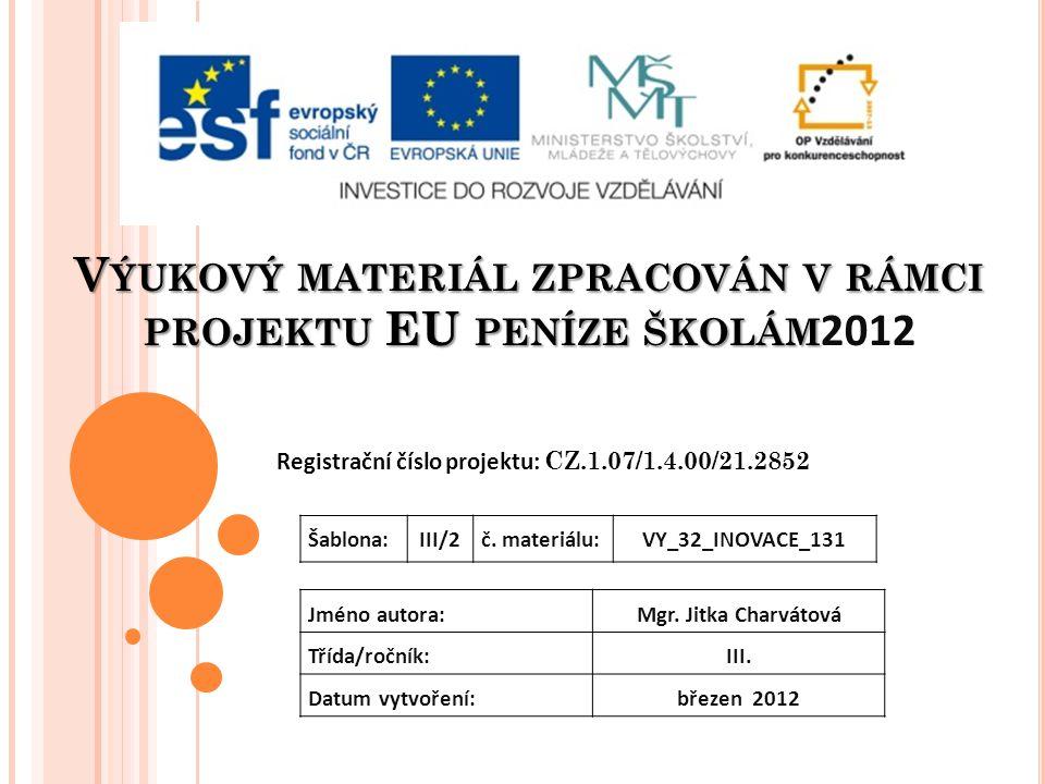 V ÝUKOVÝ MATERIÁL ZPRACOVÁN V RÁMCI PROJEKTU EU PENÍZE ŠKOLÁM V ÝUKOVÝ MATERIÁL ZPRACOVÁN V RÁMCI PROJEKTU EU PENÍZE ŠKOLÁM 2012 Registrační číslo projektu: CZ.1.07/1.4.00/21.2852 Jméno autora:Mgr.