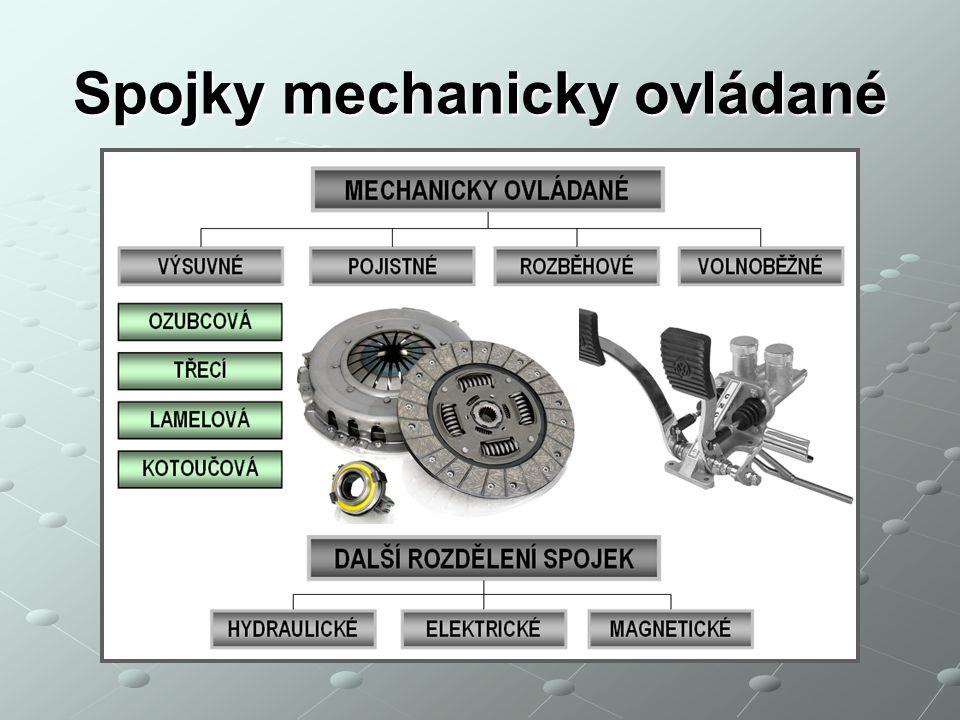Spojky mechanicky ovládané charakteristika Umožňují rozpojit hřídele buď za klidu nebo i za plného zatížení, Umožňují např.