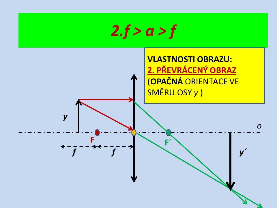 o F F´ ff y y´ 2.f > a > f VLASTNOSTI OBRAZU: 2. PŘEVRÁCENÝ OBRAZ (OPAČNÁ ORIENTACE VE SMĚRU OSY y )
