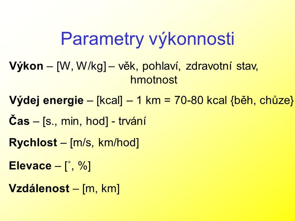Parametry výkonnosti Výkon – [W, W/kg] – věk, pohlaví, zdravotní stav, hmotnost Výdej energie – [kcal] – 1 km = 70-80 kcal {běh, chůze} Čas – [s., min