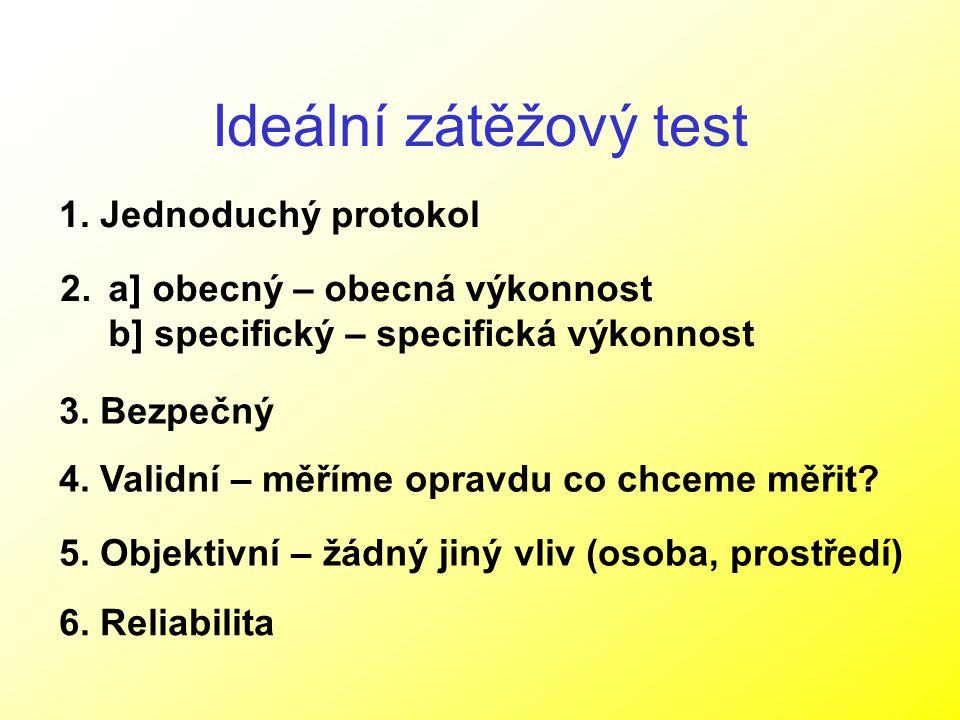 Ideální zátěžový test 1. Jednoduchý protokol 2.a] obecný – obecná výkonnost b] specifický – specifická výkonnost 3. Bezpečný 4. Validní – měříme oprav