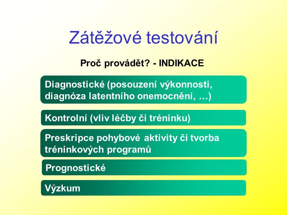 Zátěžové testování Proč provádět? - INDIKACE Diagnostické (posouzení výkonnosti, diagnóza latentního onemocnění, …) Kontrolní (vliv léčby či tréninku)