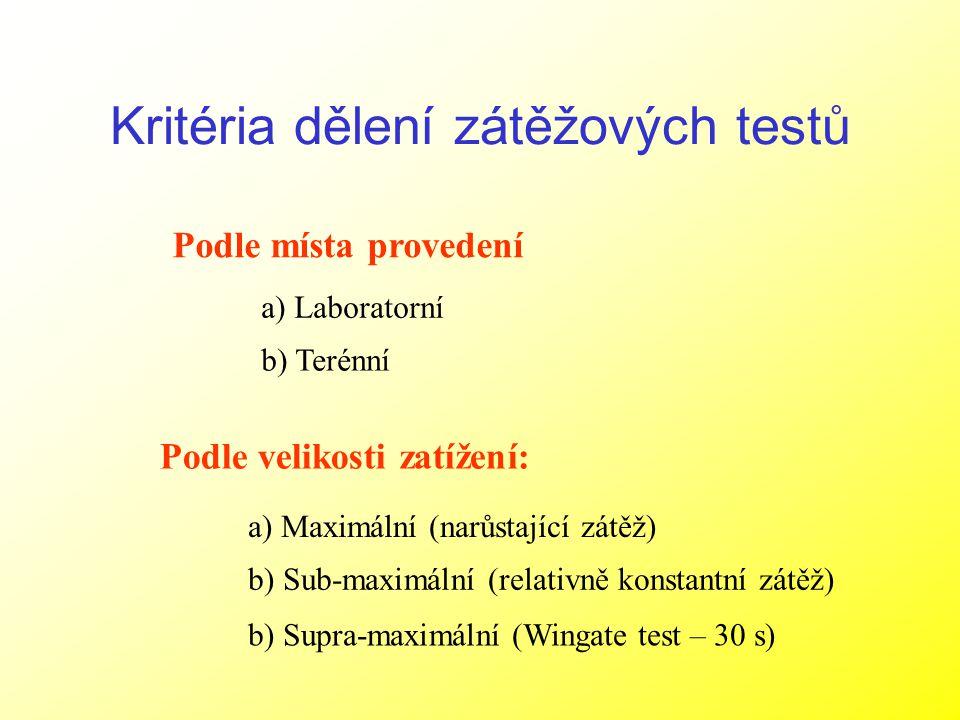 Kritéria dělení zátěžových testů Podle velikosti zatížení: Podle místa provedení a) Maximální (narůstající zátěž) b) Sub-maximální (relativně konstant
