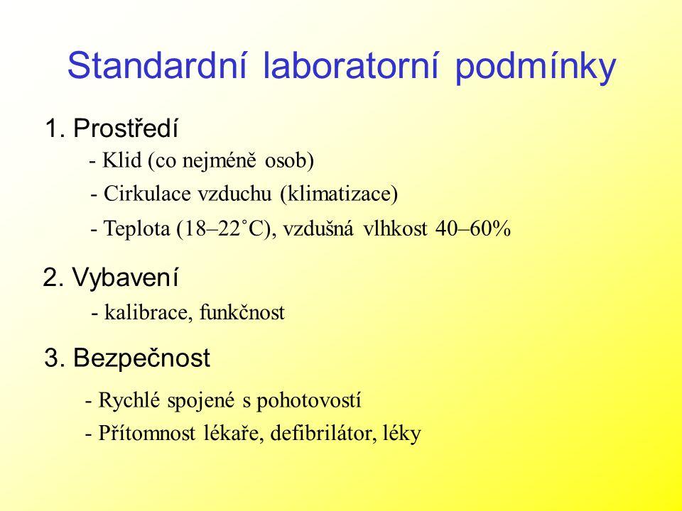 Standardní laboratorní podmínky 1. Prostředí 2. Vybavení 3. Bezpečnost - Klid (co nejméně osob) - Cirkulace vzduchu (klimatizace) - Teplota (18–22˚C),
