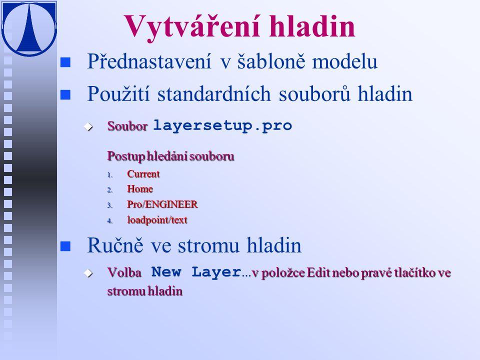 Vytváření hladin n n Přednastavení v šabloně modelu n n Použití standardních souborů hladin  Soubor  Soubor layersetup.pro Postup hledání souboru 1.