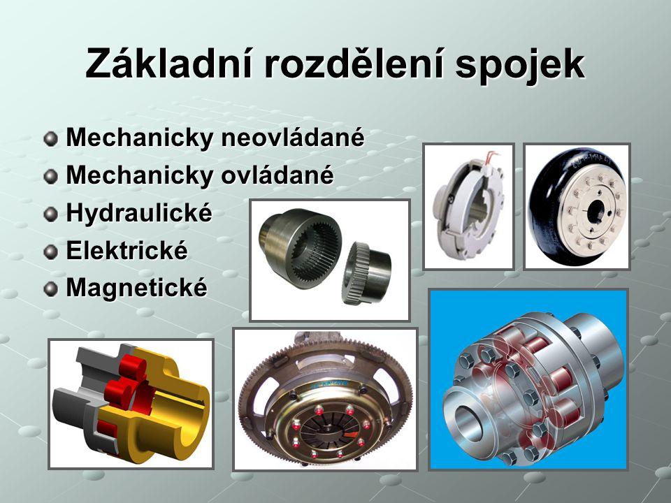Základní rozdělení spojek Mechanicky neovládané Mechanicky ovládané HydraulickéElektrickéMagnetické