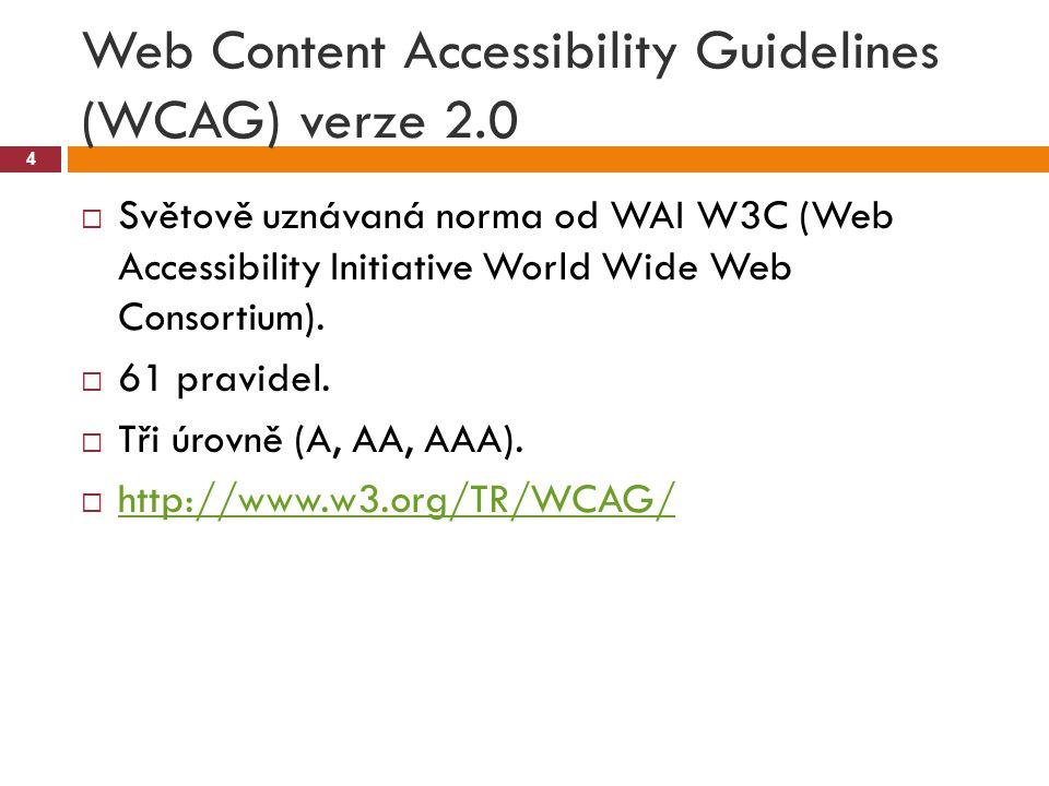 Web Content Accessibility Guidelines (WCAG) verze 2.0 4  Světově uznávaná norma od WAI W3C (Web Accessibility Initiative World Wide Web Consortium).