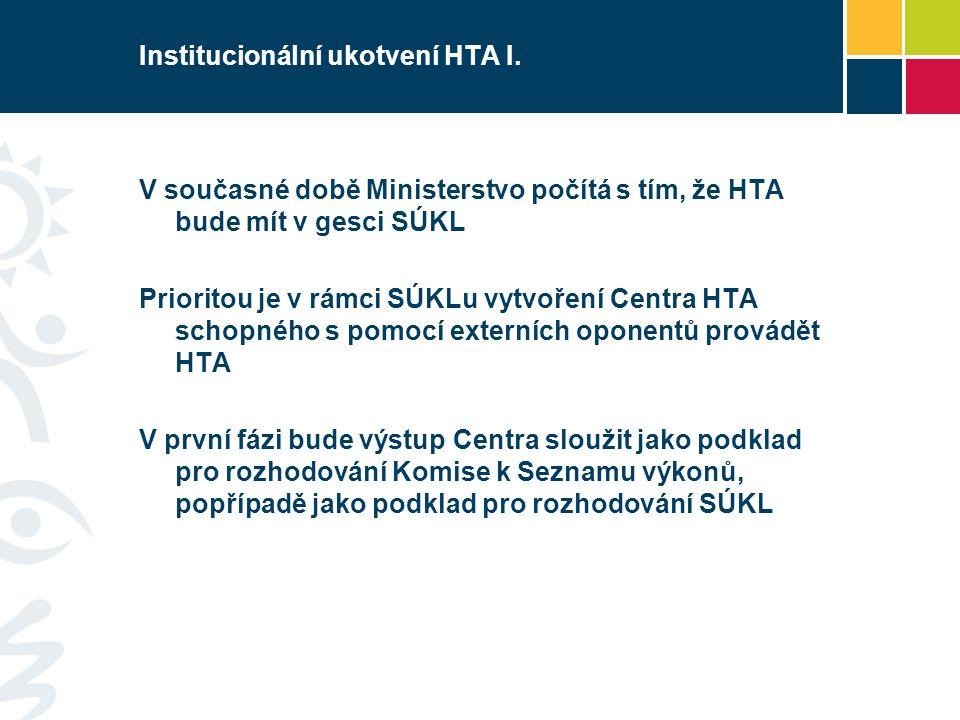 Institucionální ukotvení HTA I. V současné době Ministerstvo počítá s tím, že HTA bude mít v gesci SÚKL Prioritou je v rámci SÚKLu vytvoření Centra HT