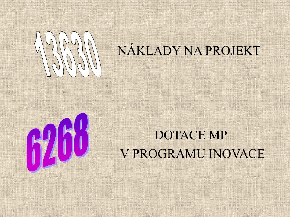 NÁKLADY NA PROJEKT DOTACE MP V PROGRAMU INOVACE