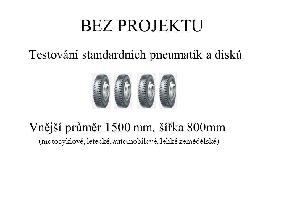 BEZ PROJEKTU Testování standardních pneumatik a disků Vnější průměr 1500 mm, šířka 800mm (motocyklové, letecké, automobilové, lehké zemědělské)