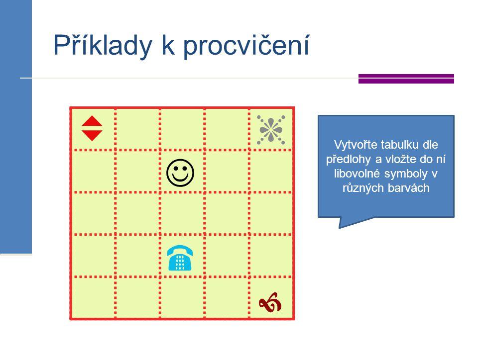 Příklady k procvičení Vytvořte tabulku dle předlohy a vložte do ní libovolné symboly v různých barvách