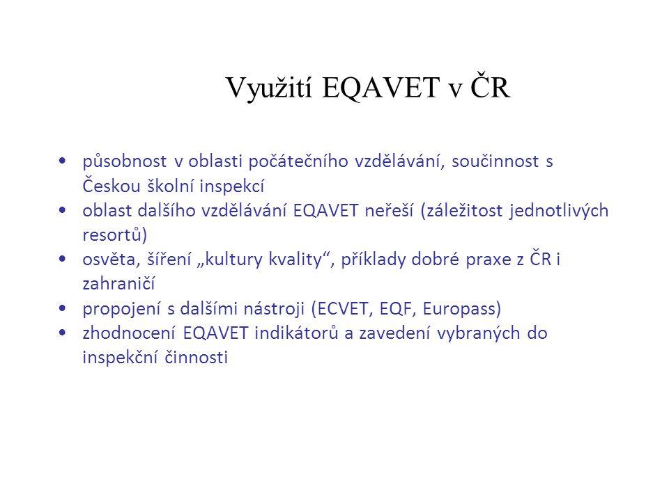 Využití EQAVET v ČR působnost v oblasti počátečního vzdělávání, součinnost s Českou školní inspekcí oblast dalšího vzdělávání EQAVET neřeší (záležitos