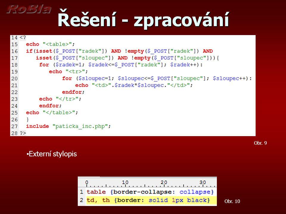 Řešení - zpracování Obr. 9 Externí stylopis Obr. 10