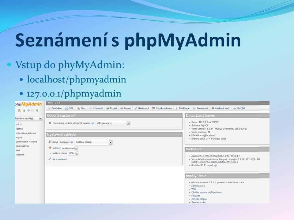 Seznámení s phpMyAdmin Vstup do phyMyAdmin: localhost/phpmyadmin 127.0.0.1/phpmyadmin
