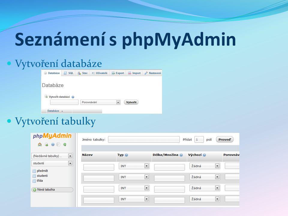 Seznámení s phpMyAdmin Vytvoření databáze Vytvoření tabulky