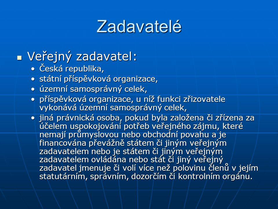 Zadavatelé Veřejný zadavatel: Veřejný zadavatel: Česká republika,Česká republika, státní příspěvková organizace,státní příspěvková organizace, územní
