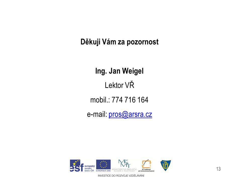 13 Děkuji Vám za pozornost Ing. Jan Weigel Lektor VŘ mobil.: 774 716 164 e-mail: pros@arsra.cz