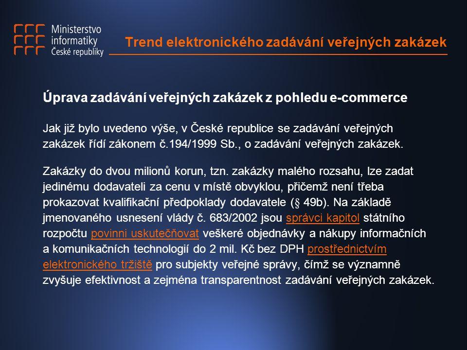 Úprava zadávání veřejných zakázek z pohledu e-commerce Jak již bylo uvedeno výše, v České republice se zadávání veřejných zakázek řídí zákonem č.194/1999 Sb., o zadávání veřejných zakázek.