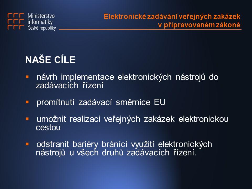 NAŠE CÍLE  návrh implementace elektronických nástrojů do zadávacích řízení  promítnutí zadávací směrnice EU  umožnit realizaci veřejných zakázek elektronickou cestou  odstranit bariéry bránící využití elektronických nástrojů u všech druhů zadávacích řízení.