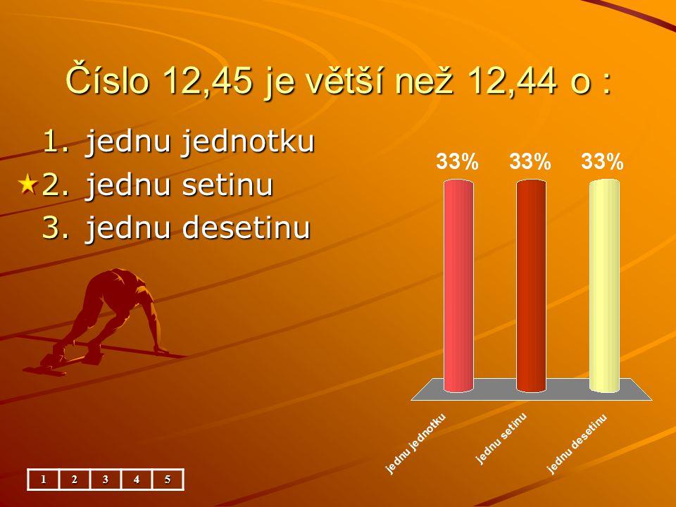 Číslo 27,68 je menší než 27,78 o : 12345 1.jednu setinu 2.jednu jednotku 3.jednu desetinu