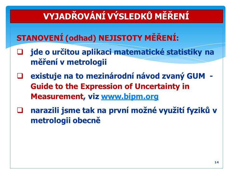 STANOVENÍ (odhad) NEJISTOTY MĚŘENÍ:  jde o určitou aplikaci matematické statistiky na měření v metrologii  existuje na to mezinárodní návod zvaný GU