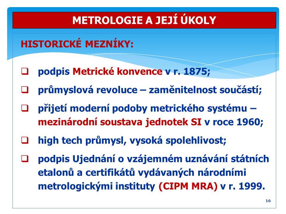 HISTORICKÉ MEZNÍKY:  podpis Metrické konvence v r. 1875;  průmyslová revoluce – zaměnitelnost součástí;  přijetí moderní podoby metrického systému