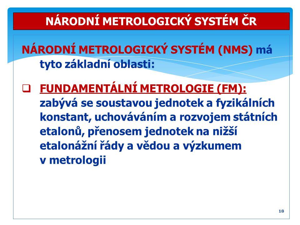 NÁRODNÍ METROLOGICKÝ SYSTÉM (NMS) má tyto základní oblasti:  FUNDAMENTÁLNÍ METROLOGIE (FM): zabývá se soustavou jednotek a fyzikálních konstant, ucho