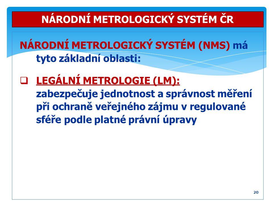 NÁRODNÍ METROLOGICKÝ SYSTÉM (NMS) má tyto základní oblasti:  LEGÁLNÍ METROLOGIE (LM): zabezpečuje jednotnost a správnost měření při ochraně veřejného