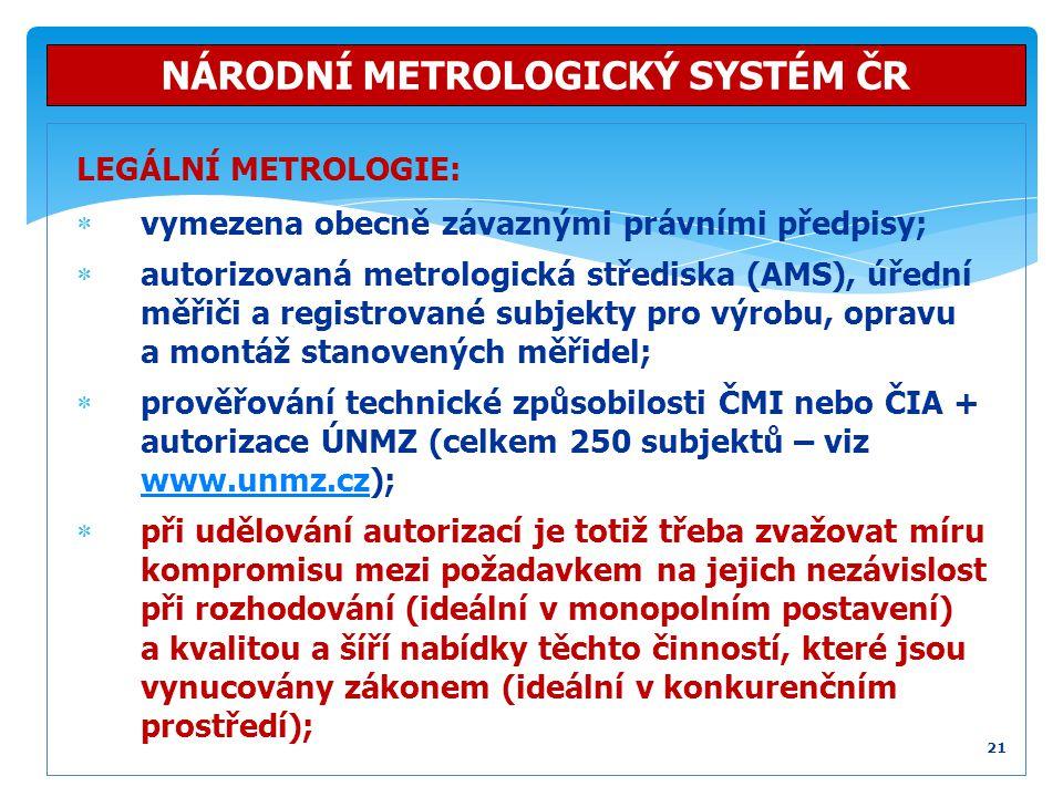 LEGÁLNÍ METROLOGIE:  vymezena obecně závaznými právními předpisy;  autorizovaná metrologická střediska (AMS), úřední měřiči a registrované subjekty