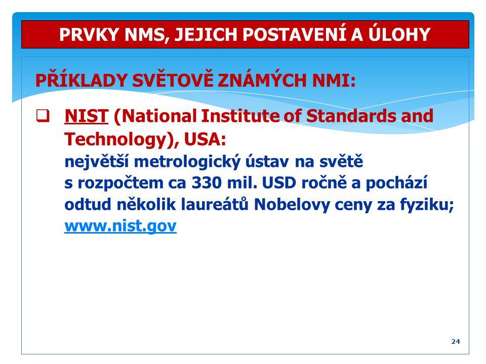 PŘÍKLADY SVĚTOVĚ ZNÁMÝCH NMI:  NIST (National Institute of Standards and Technology), USA: největší metrologický ústav na světě s rozpočtem ca 330 mi