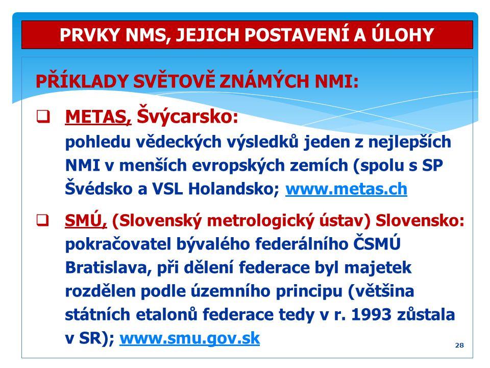 PŘÍKLADY SVĚTOVĚ ZNÁMÝCH NMI:  METAS, Švýcarsko : pohledu vědeckých výsledků jeden z nejlepších NMI v menších evropských zemích (spolu s SP Švédsko a
