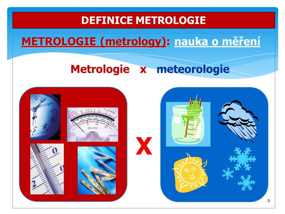 METROLOGIE (metrology): METROLOGIE (metrology): nauka o měření Metrologie x meteorologie DEFINICE METROLOGIE 3 X