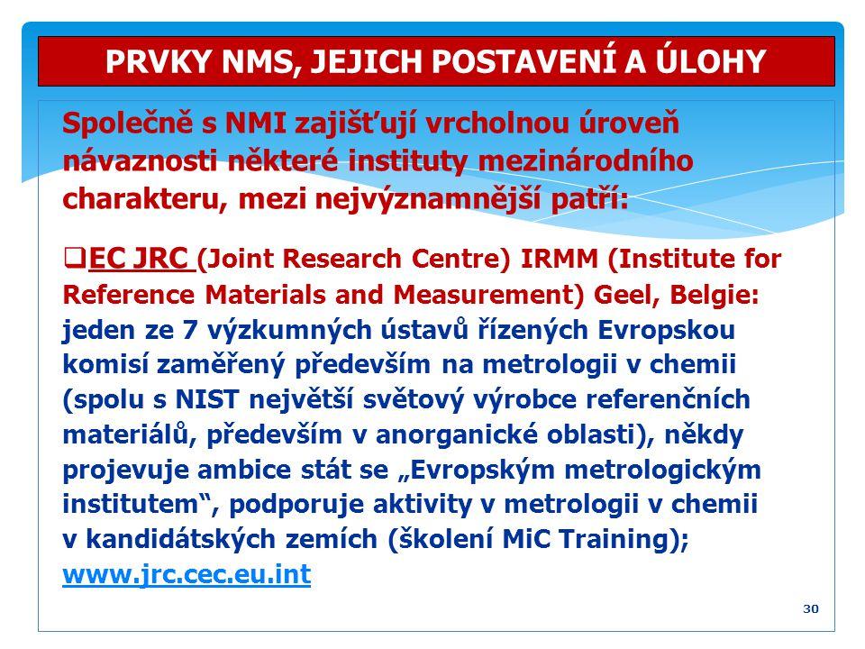 Společně s NMI zajišťují vrcholnou úroveň návaznosti některé instituty mezinárodního charakteru, mezi nejvýznamnější patří:  EC JRC (Joint Research C