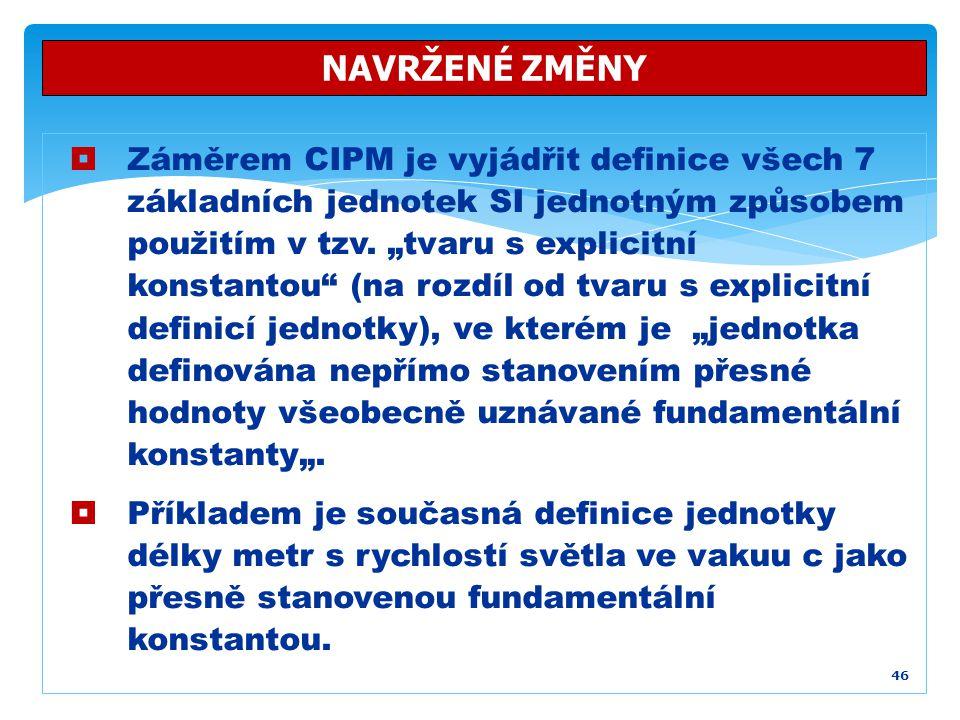 """ Záměrem CIPM je vyjádřit definice všech 7 základních jednotek SI jednotným způsobem použitím v tzv. """"tvaru s explicitní konstantou"""" (na rozdíl od tv"""