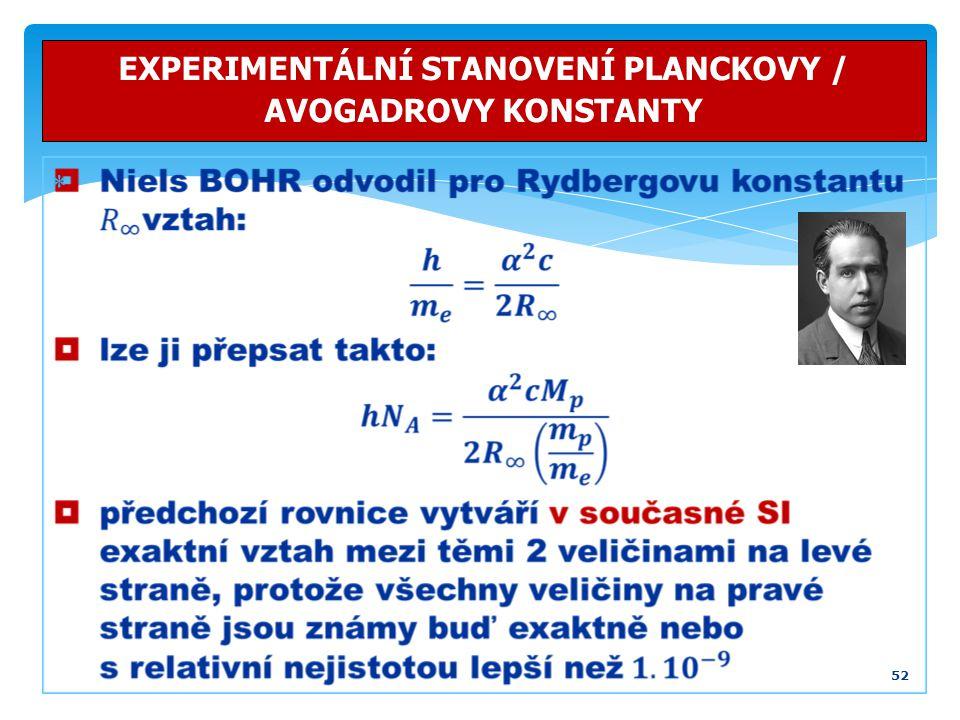 52 EXPERIMENTÁLNÍ STANOVENÍ PLANCKOVY / AVOGADROVY KONSTANTY 