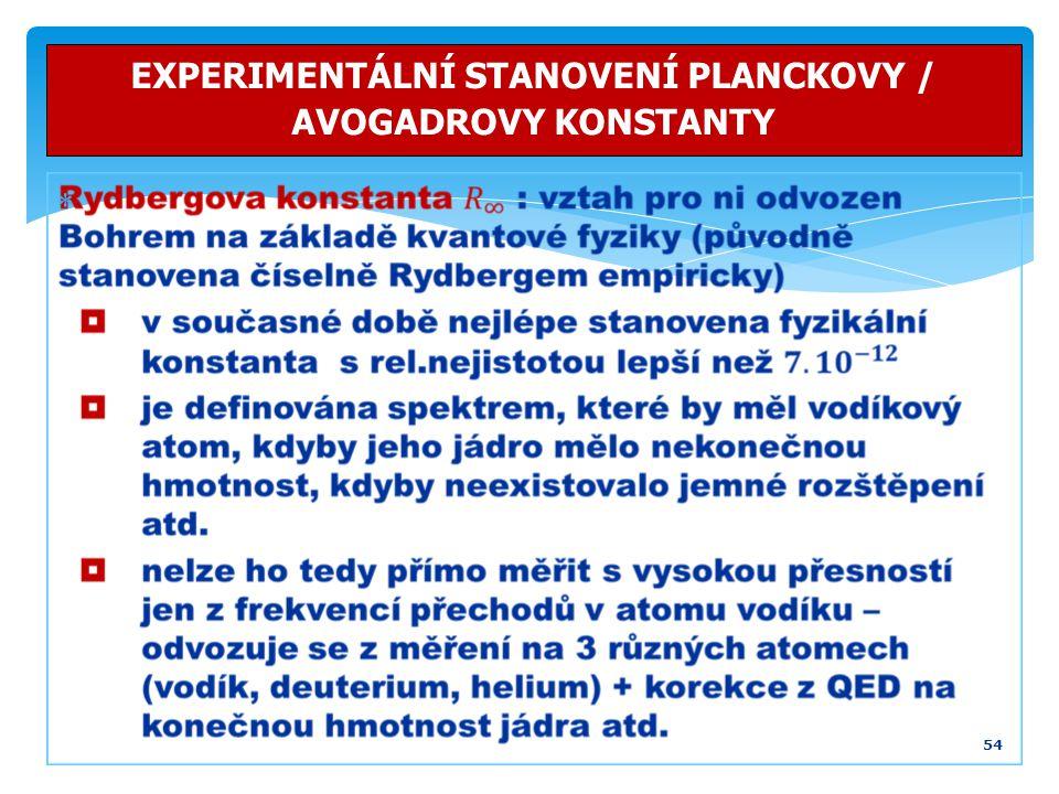 54 EXPERIMENTÁLNÍ STANOVENÍ PLANCKOVY / AVOGADROVY KONSTANTY 