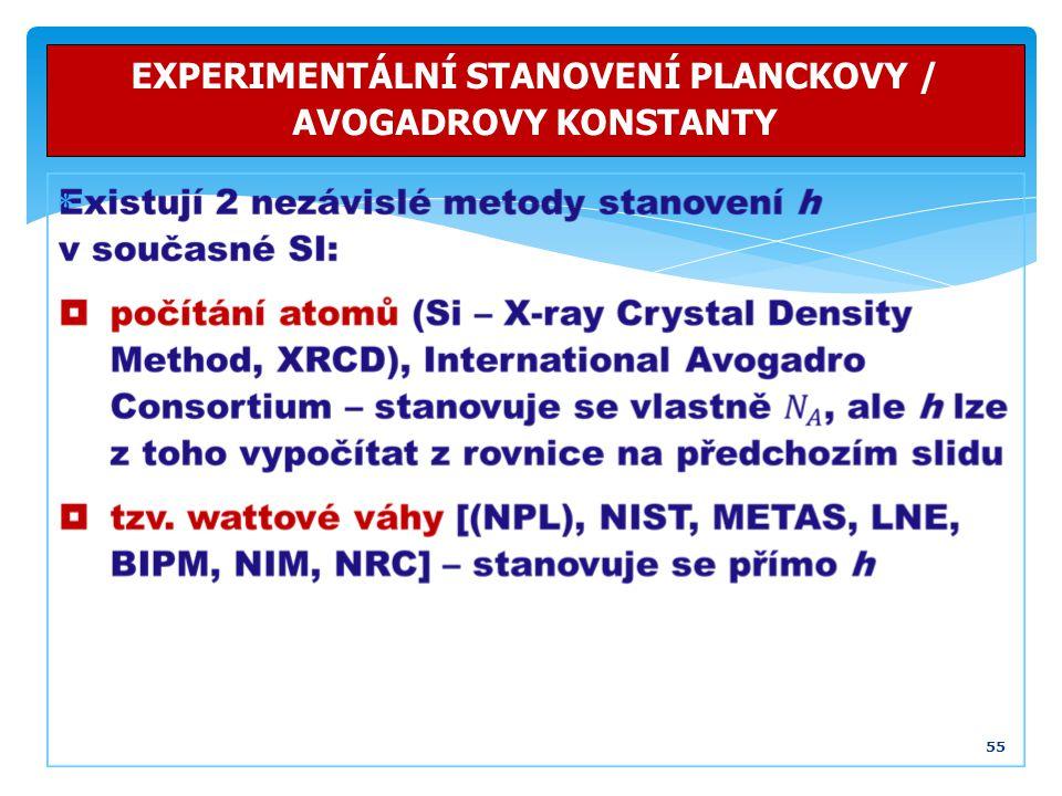 55 EXPERIMENTÁLNÍ STANOVENÍ PLANCKOVY / AVOGADROVY KONSTANTY 