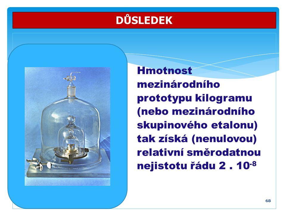 68 DŮSLEDEK Hmotnost mezinárodního prototypu kilogramu (nebo mezinárodního skupinového etalonu) tak získá (nenulovou) relativní směrodatnou nejistotu