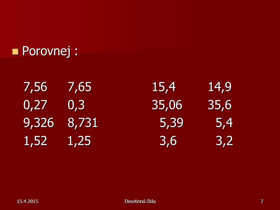 15.4.2015Desetinná čísla7 Porovnej : Porovnej : 7,567,6515,414,9 7,567,6515,414,9 0,270,335,0635,6 0,270,335,0635,6 9,3268,731 5,39 5,4 9,3268,731 5,39 5,4 1,52 1,25 3,6 3,2 1,52 1,25 3,6 3,2