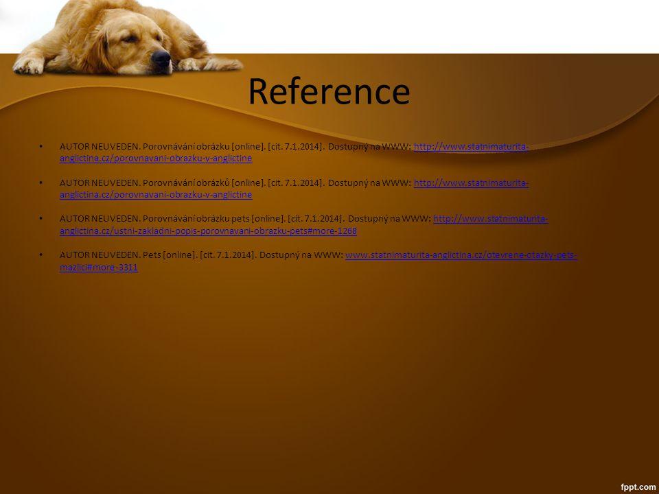 Reference AUTOR NEUVEDEN. Porovnávání obrázku [online].