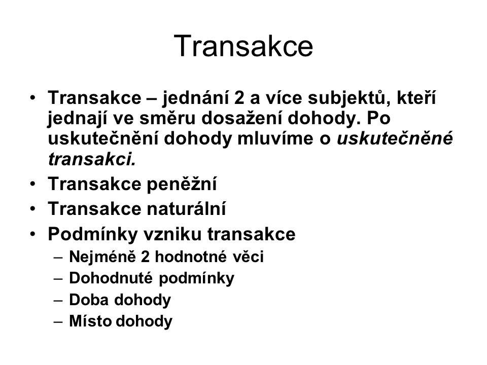 Transakce Transakce – jednání 2 a více subjektů, kteří jednají ve směru dosažení dohody. Po uskutečnění dohody mluvíme o uskutečněné transakci. Transa