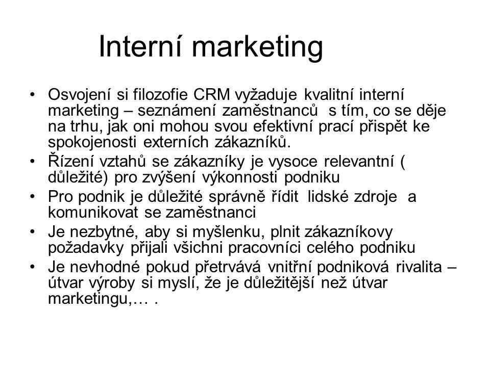 Interní marketing Osvojení si filozofie CRM vyžaduje kvalitní interní marketing – seznámení zaměstnanců s tím, co se děje na trhu, jak oni mohou svou efektivní prací přispět ke spokojenosti externích zákazníků.