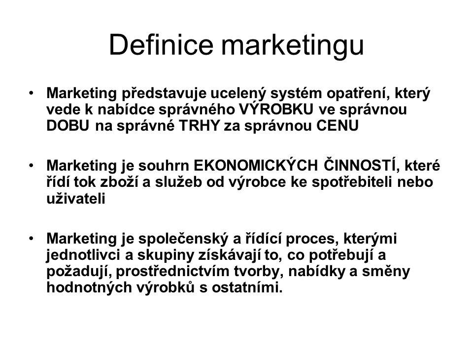 Definice marketingu Marketing představuje ucelený systém opatření, který vede k nabídce správného VÝROBKU ve správnou DOBU na správné TRHY za správnou CENU Marketing je souhrn EKONOMICKÝCH ČINNOSTÍ, které řídí tok zboží a služeb od výrobce ke spotřebiteli nebo uživateli Marketing je společenský a řídící proces, kterými jednotlivci a skupiny získávají to, co potřebují a požadují, prostřednictvím tvorby, nabídky a směny hodnotných výrobků s ostatními.