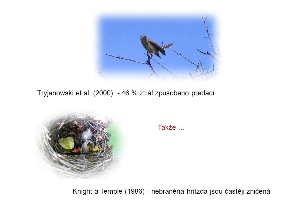 Takže … Knight a Temple (1986) - nebráněná hnízda jsou častěji zničená Tryjanowski et al.