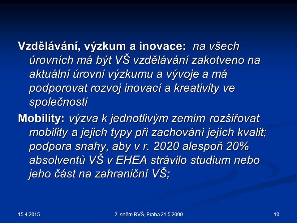 15.4.2015 102. sněm RVŠ, Praha 21.5.2009 Vzdělávání, výzkum a inovace: na všech úrovních má být VŠ vzdělávání zakotveno na aktuální úrovni výzkumu a v