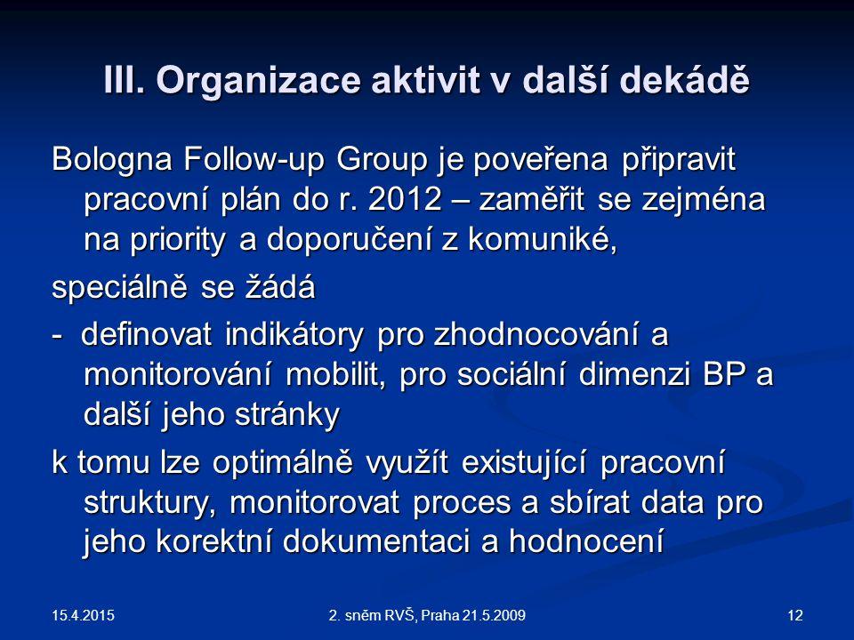 15.4.2015 122. sněm RVŠ, Praha 21.5.2009 III. Organizace aktivit v další dekádě Bologna Follow-up Group je poveřena připravit pracovní plán do r. 2012