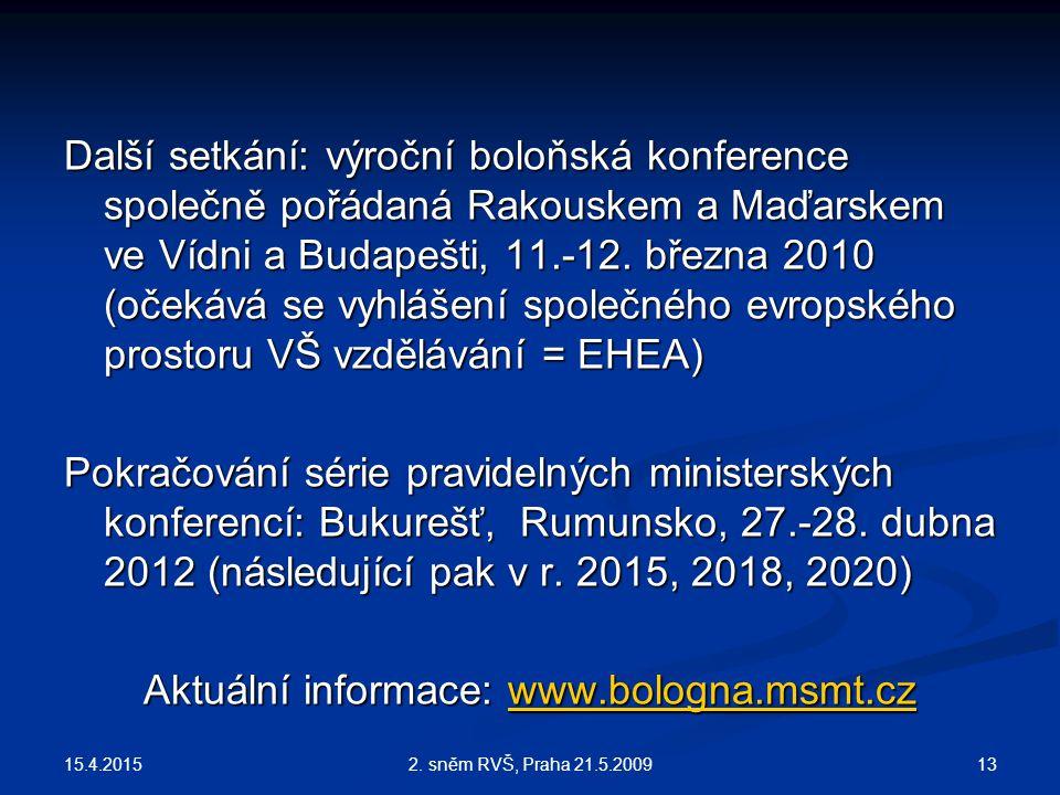 15.4.2015 132. sněm RVŠ, Praha 21.5.2009 Další setkání: výroční boloňská konference společně pořádaná Rakouskem a Maďarskem ve Vídni a Budapešti, 11.-